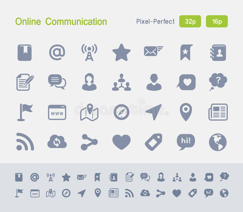 Online komunikacja | Granitowe ikony obrazy royalty free