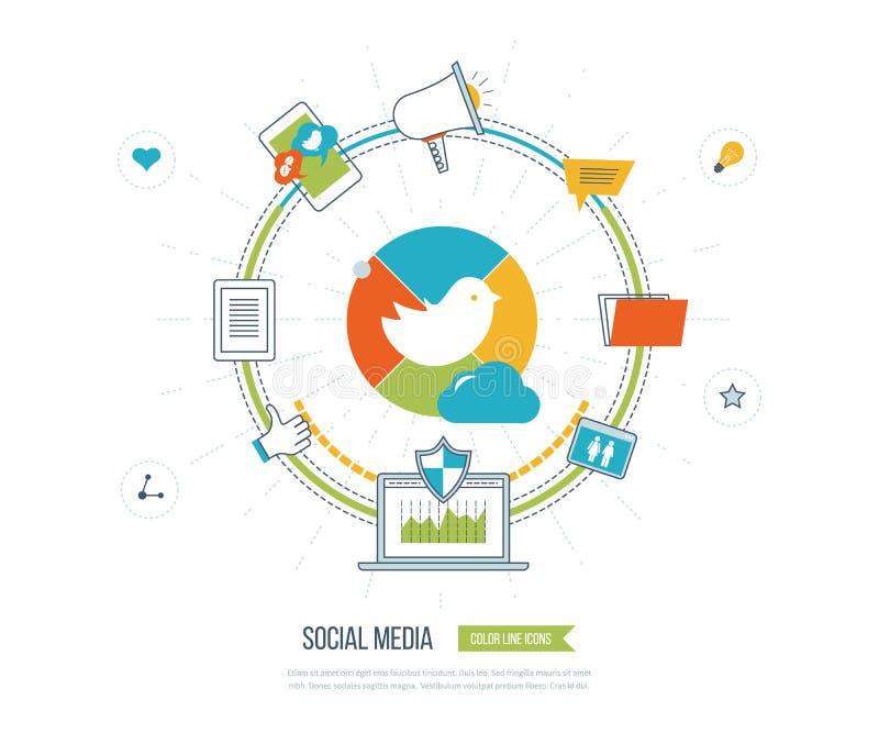 Online komunikacja i ogólnospołeczny medialny pojęcie Zarządzanie inwestycyjne Dane ochrona ilustracji