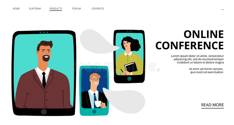 Online konferencyjna lądowanie strona Wektorowych biznesmenów online spotkanie Wideo gadki strony internetowej szablon royalty ilustracja