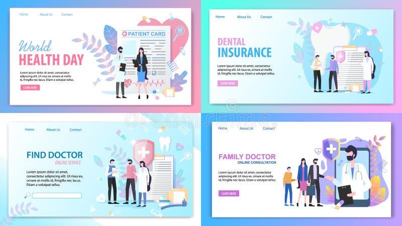 Online-konsultationfamiljdoktor Health Insurance vektor illustrationer