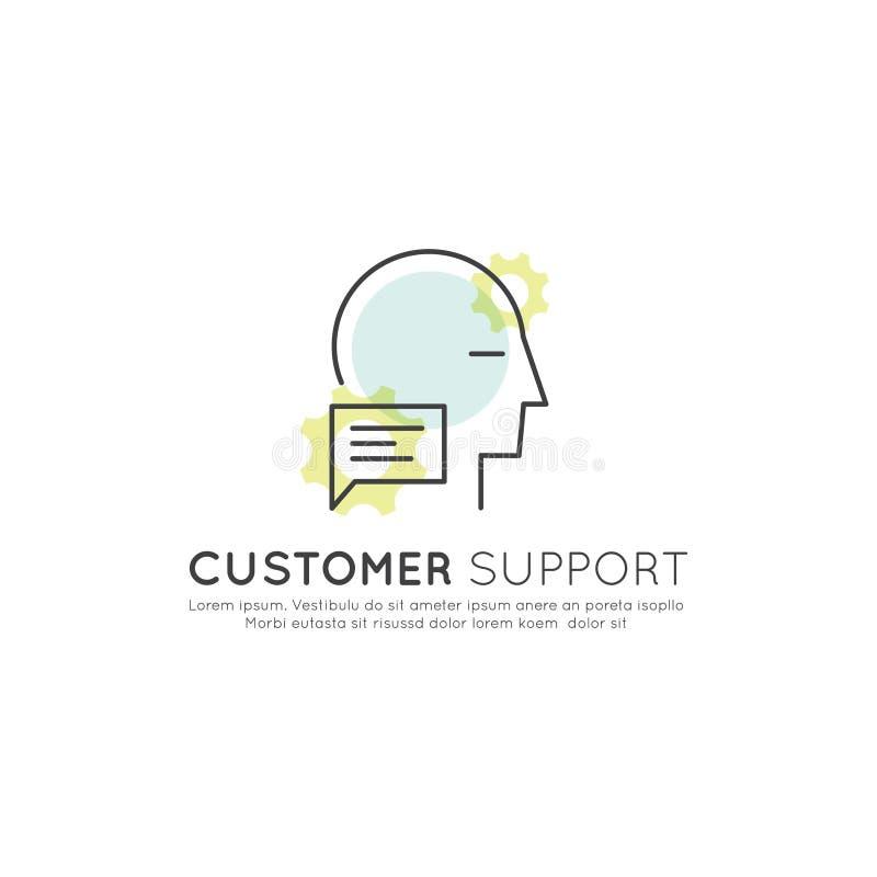 Online-konsultationplattformbegrepp med dialogasken och mänsklig profil stock illustrationer