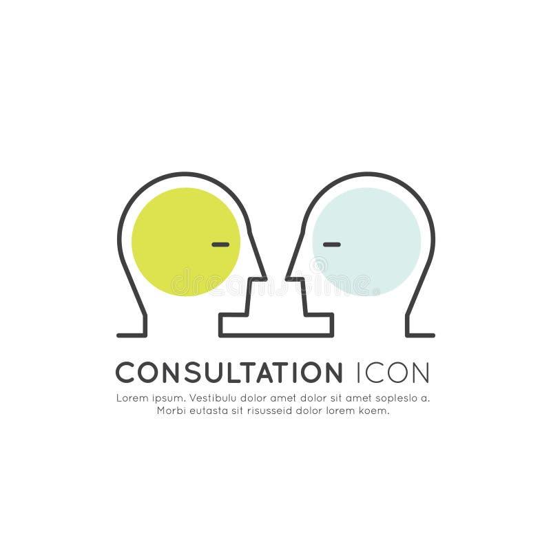 Online-konsultationplattformbegrepp med två mänskliga profiler som ser de, isolerad rengöringsdukbeståndsdel stock illustrationer