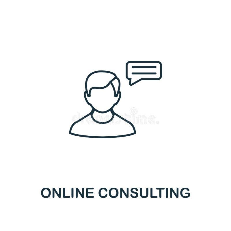 Online-konsulterande tunn linje stil för symbol Symbol från online-marknadsföra symbolssamling Översiktsonline-konsulterande symb vektor illustrationer