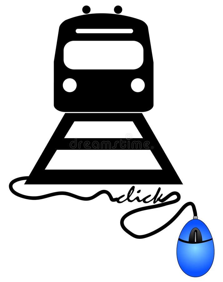 Online kopend treinkaartje stock illustratie
