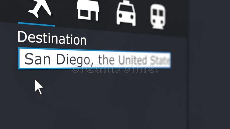 Online kopend vliegtuigkaartje aan San Diego Het reizen naar het conceptuele 3D teruggeven van Verenigde Staten royalty-vrije stock afbeeldingen
