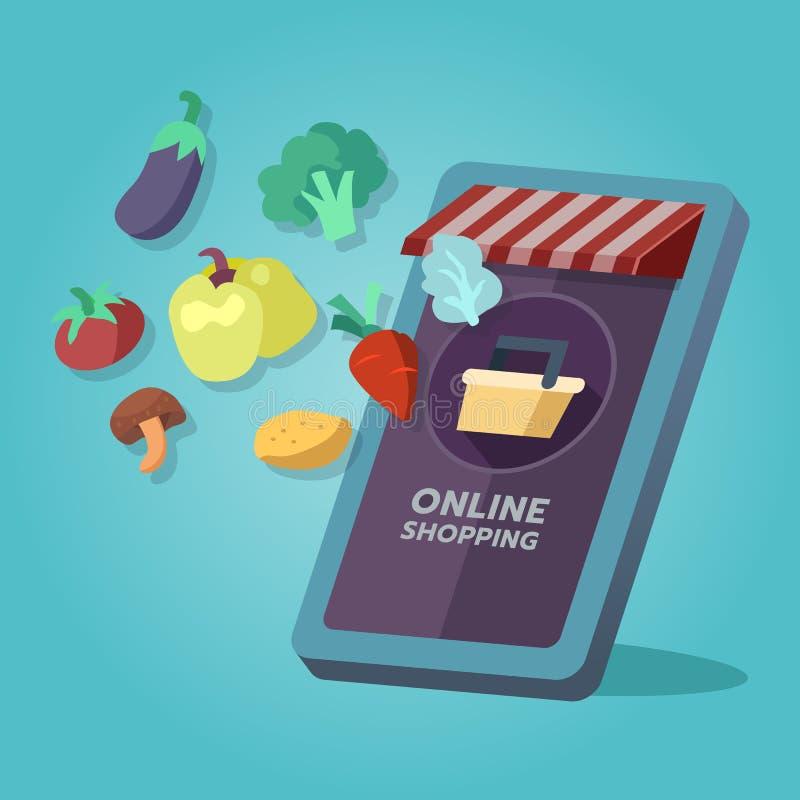 Online kruidenierswinkel het winkelen opslag, voedselgoederen Op het mobiele scherm royalty-vrije illustratie