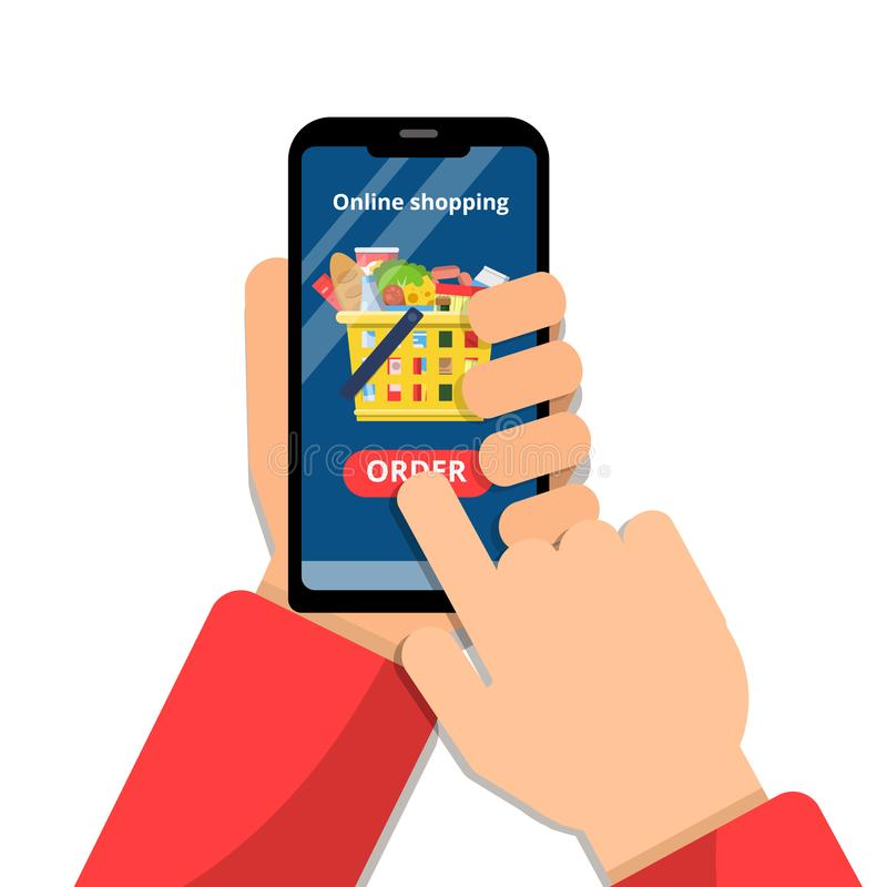Online kruidenierswinkelmand De handen die smartphone houden en maken ordeapp tot de markt van het handelsvoedsel vectorconcept stock illustratie