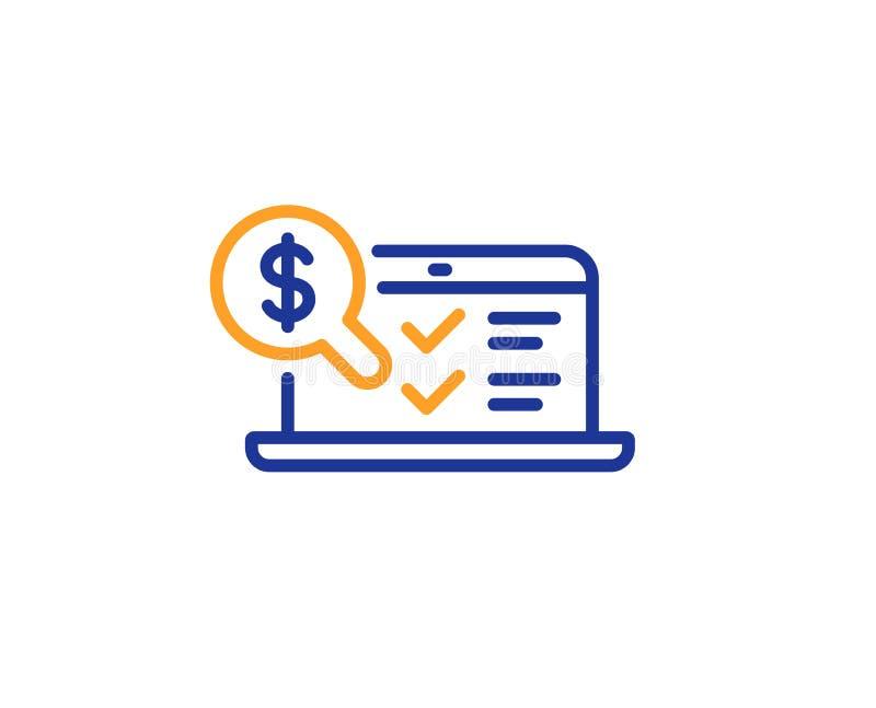 Online księgowości linii ikona Rewizja znak wektor ilustracji