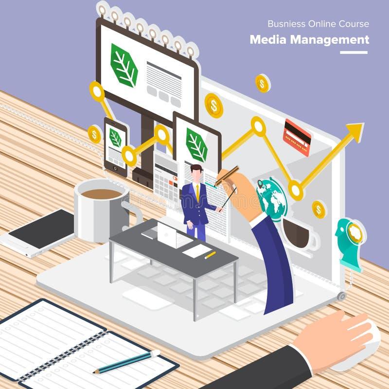 Online-kursaffär stock illustrationer
