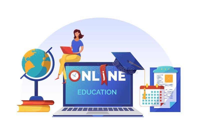 Online-Kurse Planung von Banner mit flachem Vektor lizenzfreie abbildung