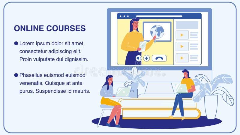 Online kursy, Uniwersytecki Wektorowy sztandaru układ ilustracji