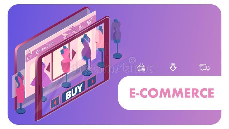 Online-kvinnlig för rengöringsdukbaner för bekläda lager mall royaltyfri illustrationer