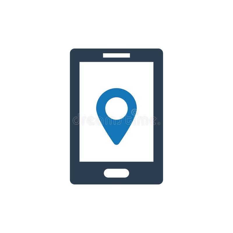 Online-läge ställe navigeringsymbol stock illustrationer