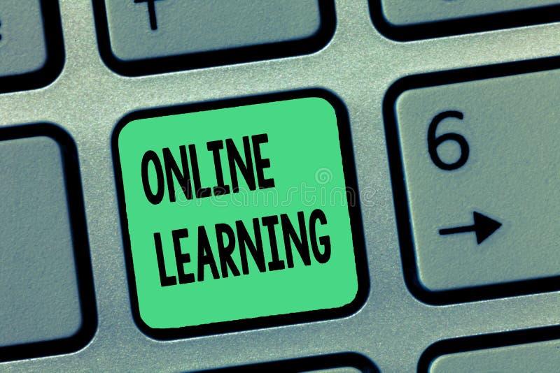 Online-lära för ordhandstiltext Affärsidé för Larning med hjälpen av internet och en dator royaltyfri bild