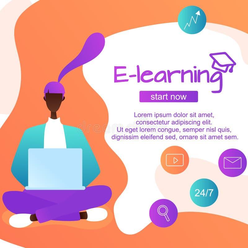 Online-lärande utländska språk, sittande afro--amerikan flicka för grejer att lära språk, online-studie vektor illustrationer