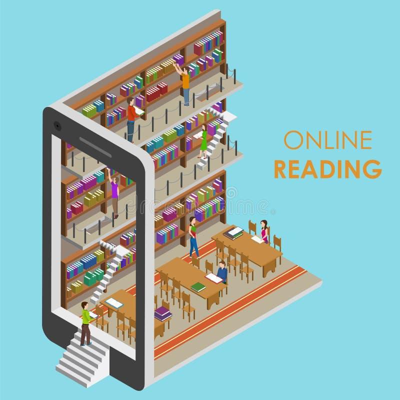 Online-läs- begreppsmässig isometrisk illustration royaltyfri illustrationer