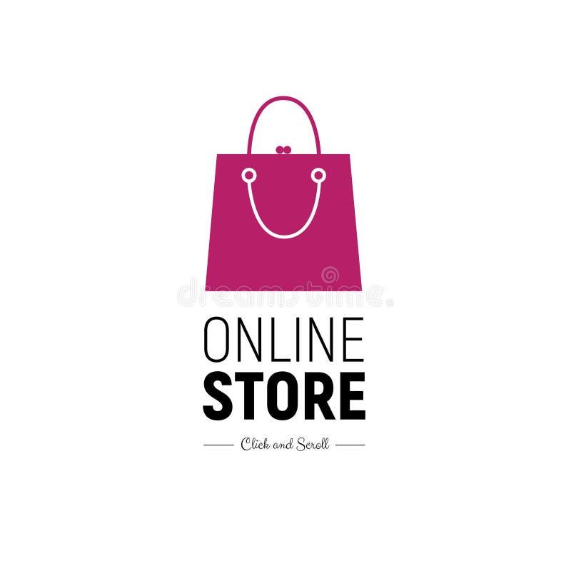 Online-lager för modernt rengöringsdukbaner med den trendiga handväskan Begreppsonline-shopping stock illustrationer