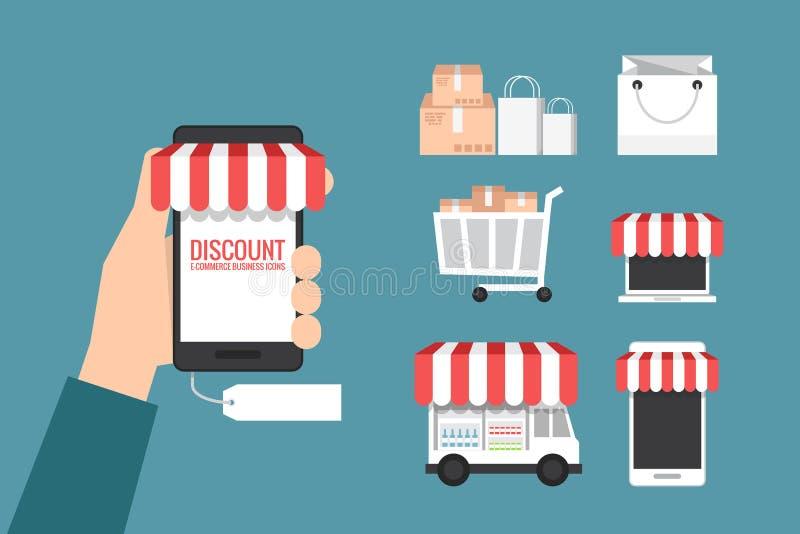Online-lager- och shoppingsymbol stock illustrationer