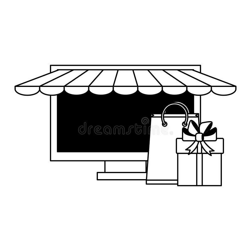 Online-lagerdator med gåvor royaltyfri illustrationer