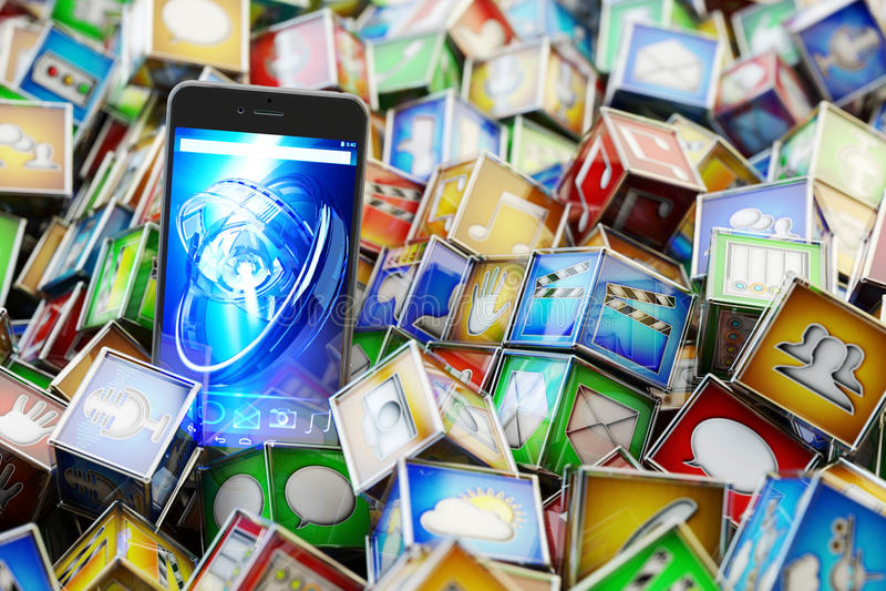 Online-lagermarknad med mobiltelefonapplikationer, begrepp för multimediateknologi royaltyfri illustrationer