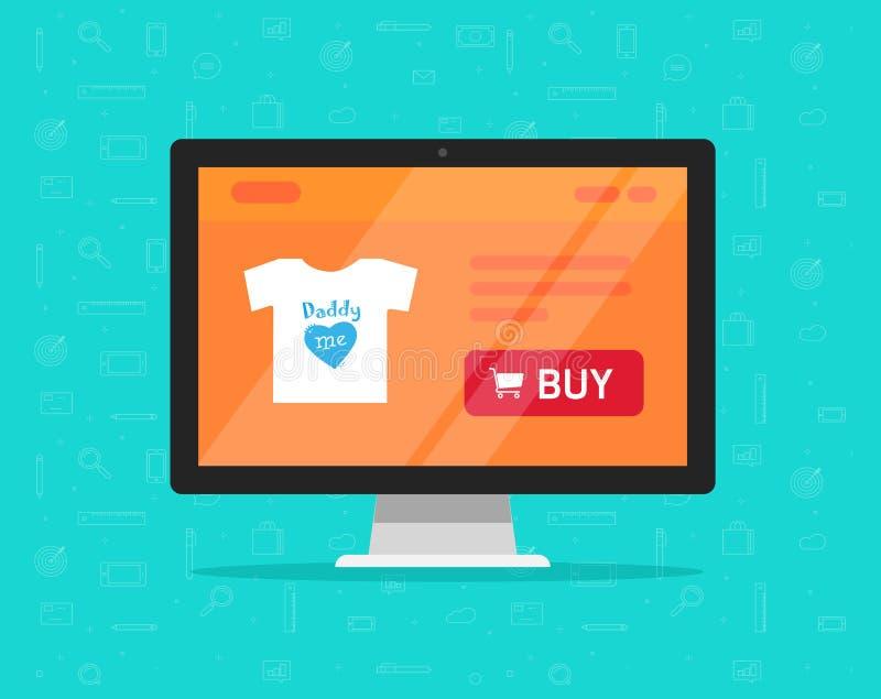 Online-lagret på datorvektorillustration, den plana tecknade filmen av skärm för den skrivbords- PC:n med internet shoppar websit vektor illustrationer