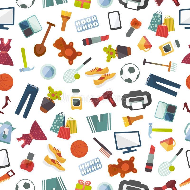 Online-lagret shoppar websitekläder och gods som shoppar för modellbakgrund för vektorn den sömlösa illustrationen stock illustrationer
