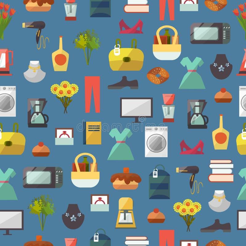 Online-lagret shoppar websitekläder och gods som shoppar för modellbakgrund för vektorn den sömlösa illustrationen vektor illustrationer