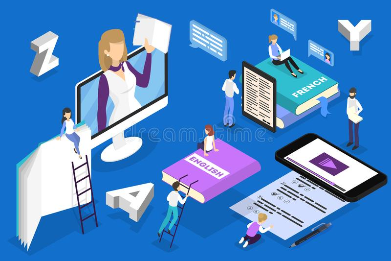 Online language courses concept. Study foreign languages. In school or university. English lesson. Vector isometric illustration royalty free illustration