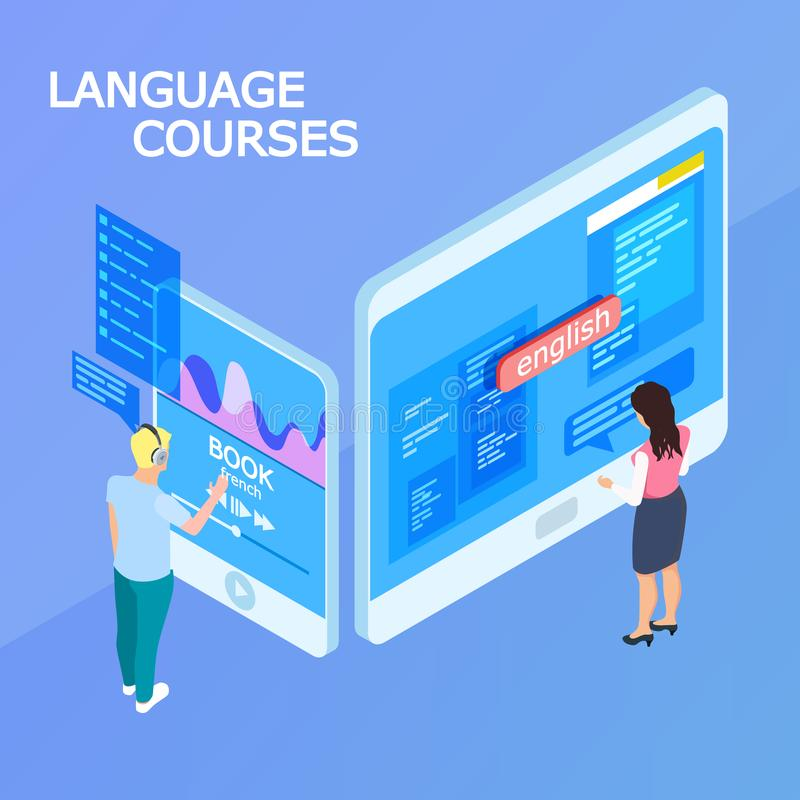 Online language courses isometric 3d vector concept royalty free illustration