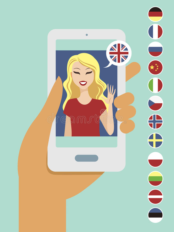 Online language learning concept. Flat vector illustration stock illustration
