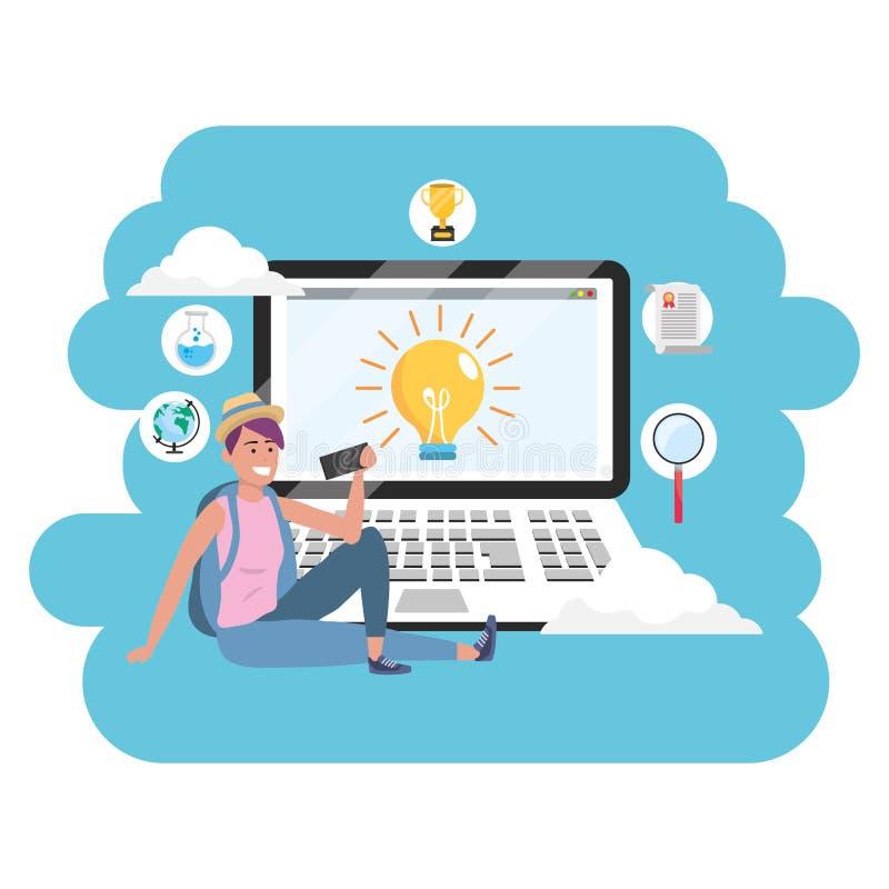 Online laptop van de onderwijs millennial student plonskader stock illustratie