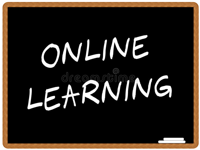 Online learning. Illustration of a chalkboard with the text ONLINE LEARNING