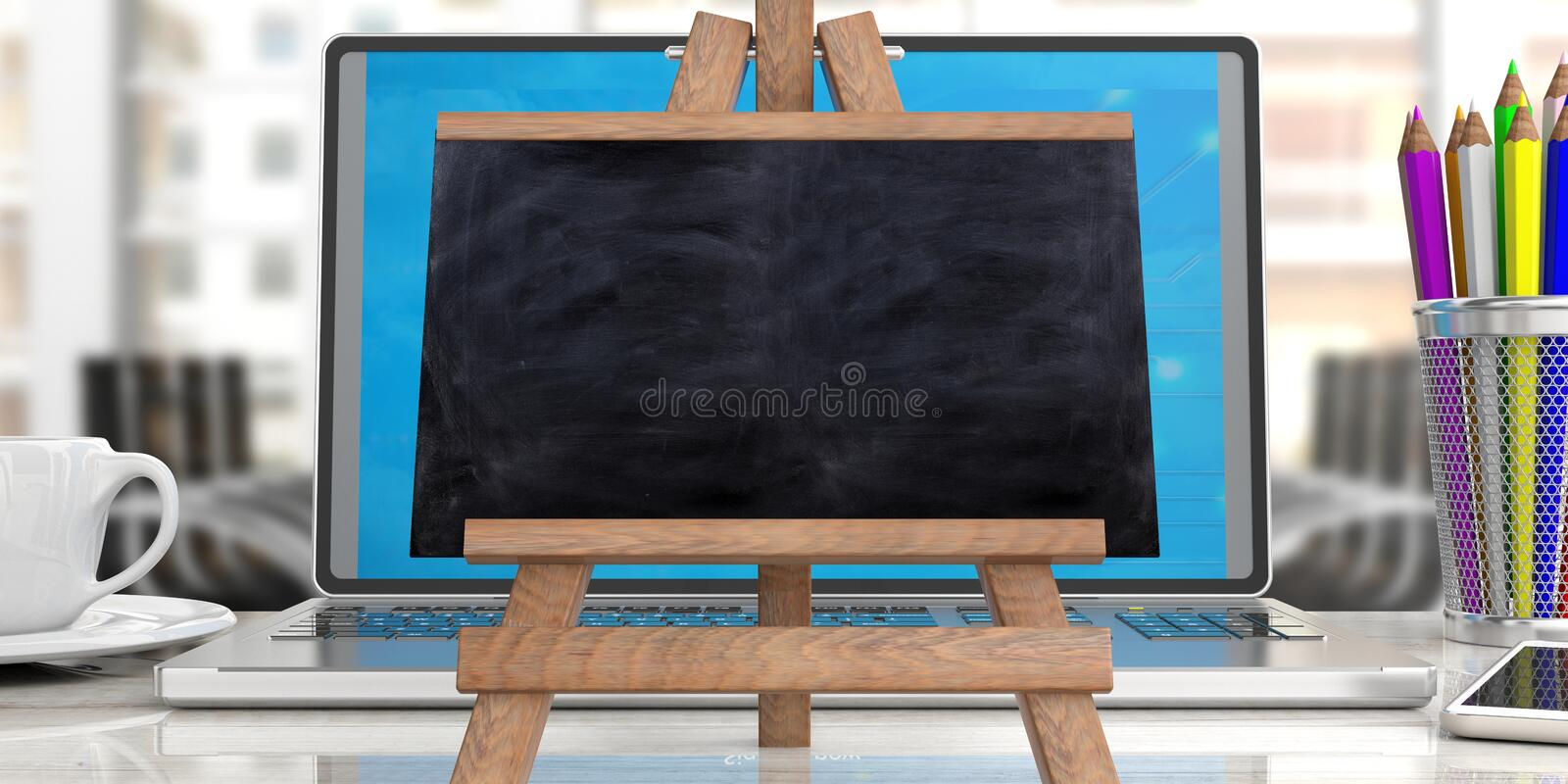 Online learning concept. Blackboard on laptop against blur office background, copy space vector illustration