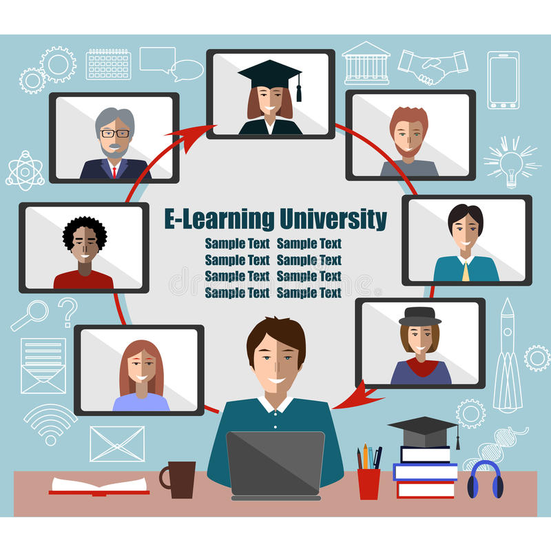 Online learning concept. Teacher and students group. Place for text. Distance education frame vector illustration