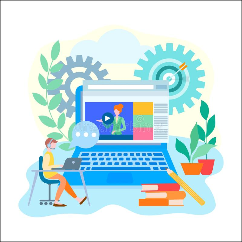 Online learning education, internet courses, coaching concept. A young man gets an education online. Vector illustration for web design, advertising posters stock illustration