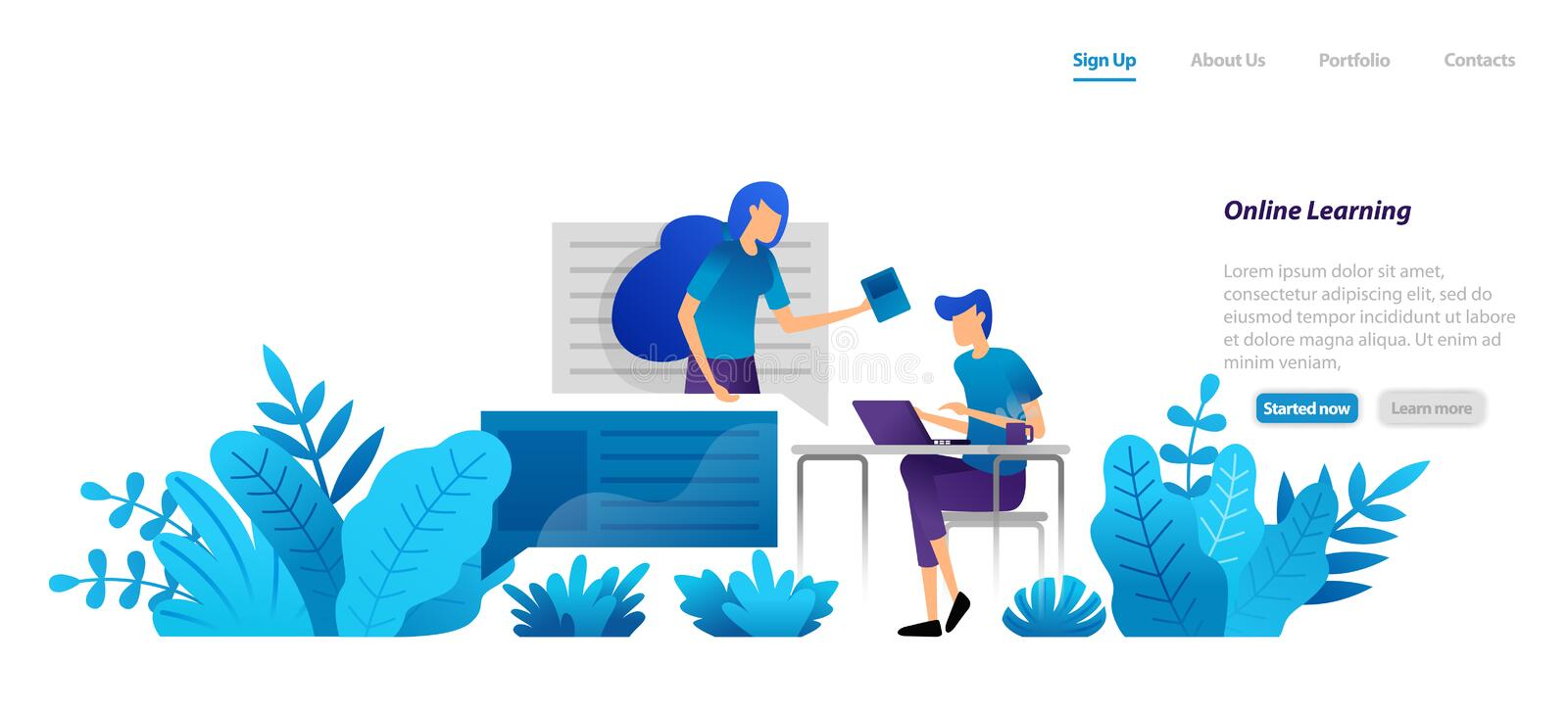 Online learning from home with internet technology with professional mentors. video homeschooling. flat illustration concept for l. Anding page, web, ui, banner royalty free illustration