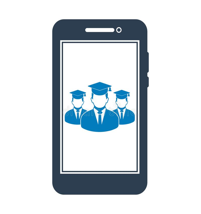 Online Learning Icon with graduate students on Mobile Screen Flat style vector EPS vector illustration