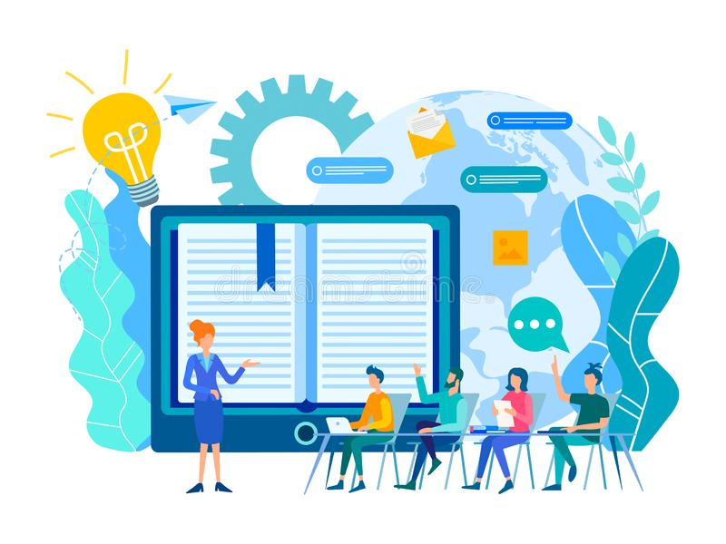 Online learning lessons, webinar and online education courses, the teacher teaches a group of students online. Vector illustration royalty free illustration