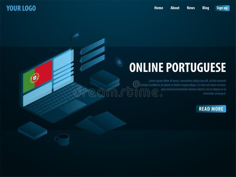 Online Learning Portuguese. Education concept, Online training, specialization, university studies. Isometric vector illustration. vector illustration