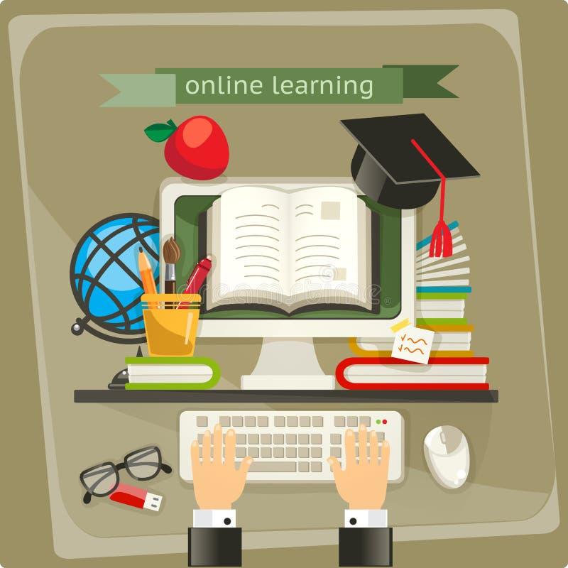 Online learning vector illustration royalty free illustration