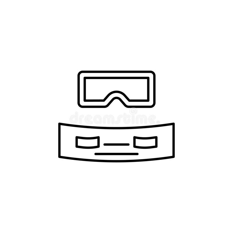 Online learning virtual reality simple line icon vector illustration