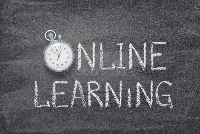 Online learning watch. Online learning phrase handwritten on chalkboard with vintage precise stopwatch used instead of O royalty free stock image
