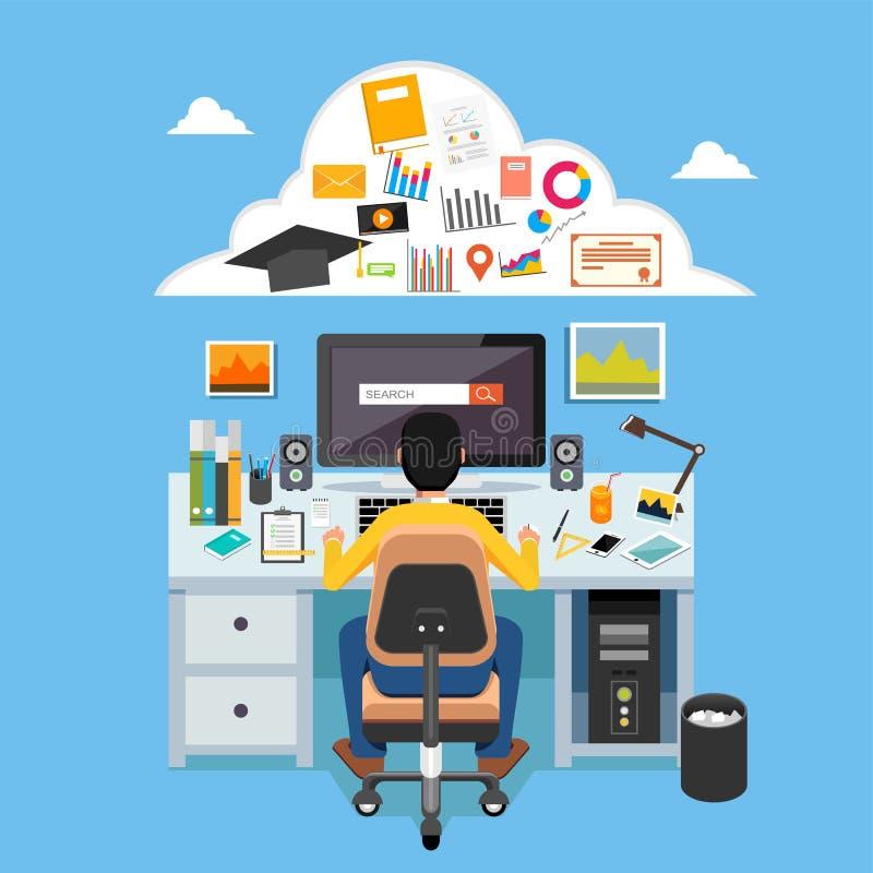 Online lerend e-lerend, online onderwijs, afstandsonderwijs, onderwijs, online cursus Student die op computer bestuderen vector illustratie