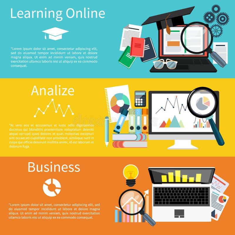 Online lernend, analize und Geschäft lizenzfreie abbildung