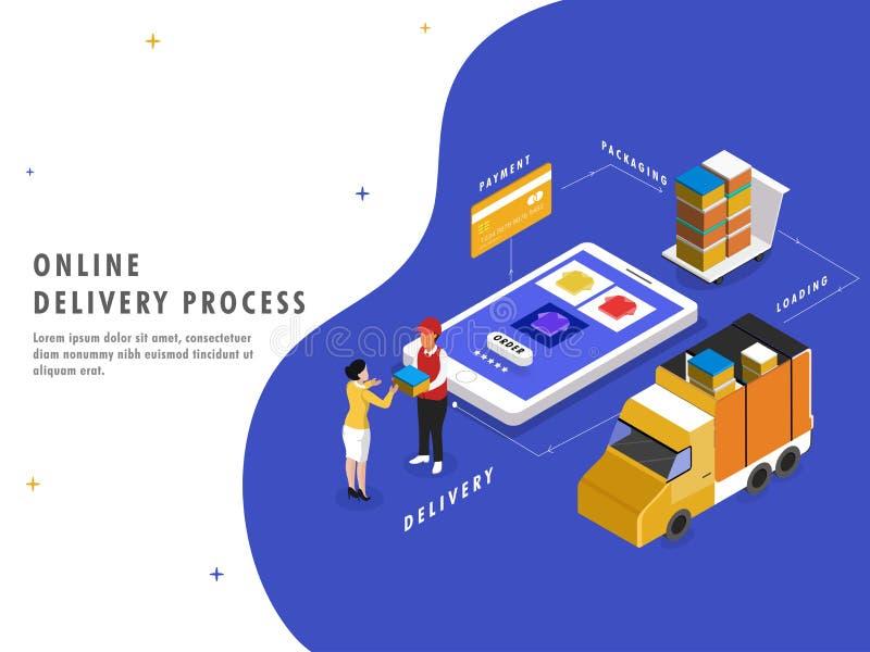 Online-leveransprocess, isometrisk design med produktbeställning, PA vektor illustrationer