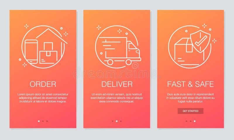 Online leveringsconcept die app de schermen onboarding Modern en vereenvoudigd vector de schermenmalplaatje van de illustratieana stock illustratie