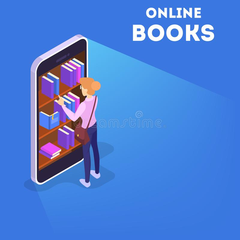 Online library concept. Using mobile phone and computer stock illustration