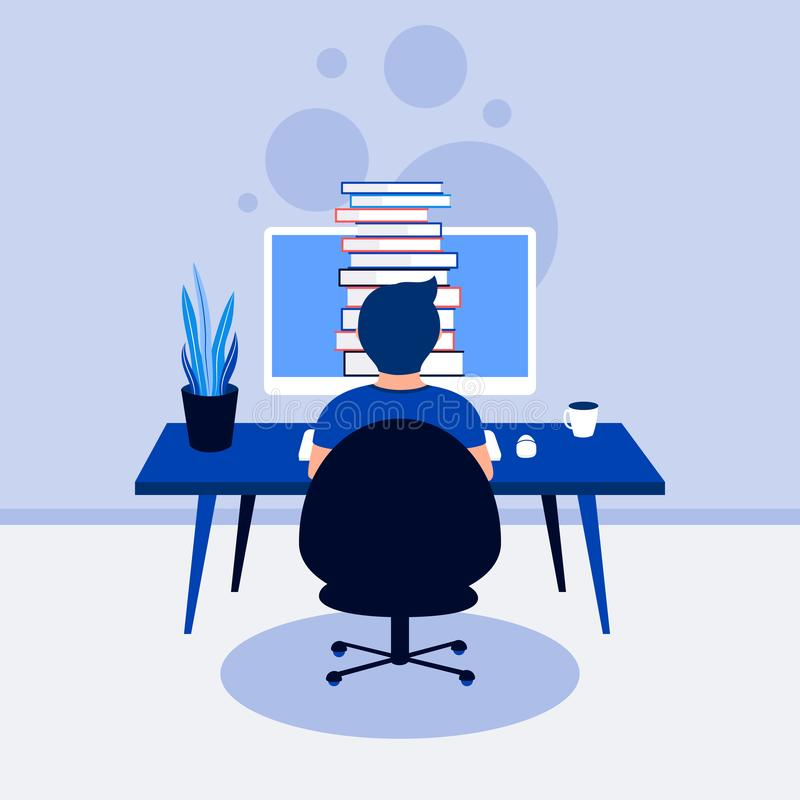 Online library education concept. stock illustration