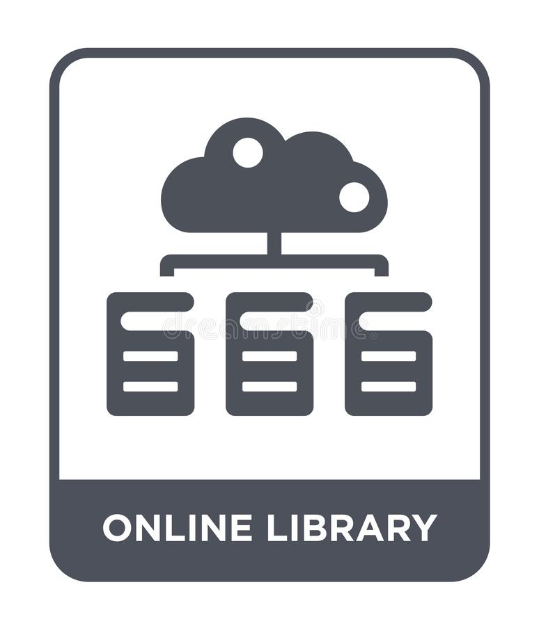 online library icon in trendy design style. online library icon isolated on white background. online library vector icon simple royalty free illustration
