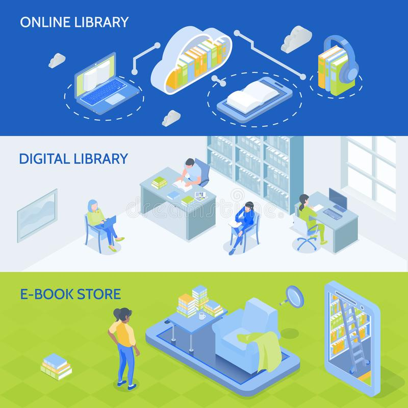 Online Library Isometric Banners vector illustration